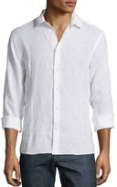 Orlebar Brown Solid Long-Sleeve Linen Shirt, White