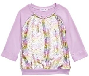 Beautees Big Girls Flip Rainbow Sequin Top