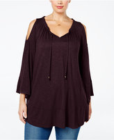 Style&Co. Style & Co. Plus Size Cold-Shoulder Peasant Top, Only at Macy's
