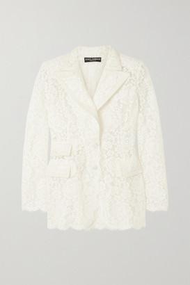 Dolce & Gabbana Satin-trimmed Corded Lace Blazer - White