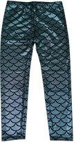 Simplicity Children Mermaid Fish Scale Print Full Length Leggings Pants