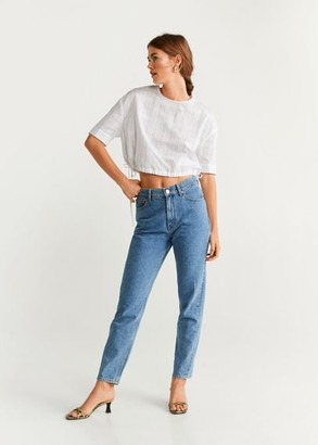 MANGO Textured check blouse white - 2 - Women