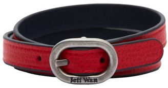 Jeff Wan Reversible Leather Bracelet With Buckle Closure Red Brooklyn