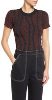 Creatures of the Wind Soutache-Appliqué Short-Sleeve Sweater, Black/Red