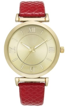 Style&Co. Style & Co Women's Red Faux Patent Leather Strap Watch 38mm