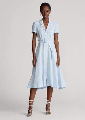 Ralph Lauren Belted Linen Midi Dress