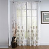 Callisto Home Sheer Flowers Rod Pocket Window Curtain Panel in White