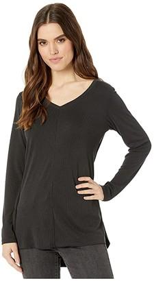 Fresh Produce Jetsetter Long Sleeve Top in Stretchy Modal Rib (Black) Women's Clothing