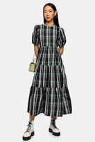 Topshop Green Check Taffeta Maxi Dress