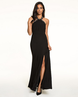 Le Château Knit Jewel Embellished Halter Gown