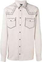 Laneus metallic embellished shirt