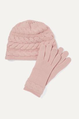 Portolano Cable-knit Cashmere Beanie And Gloves Set - Blush