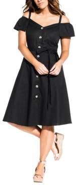 City Chic Trendy Plus Size Shoulder Affair Dress