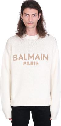 Balmain Knitwear In White Wool