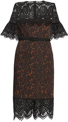 Erdem Kiya Lace Yoke Leopard-Print Sheath Dress