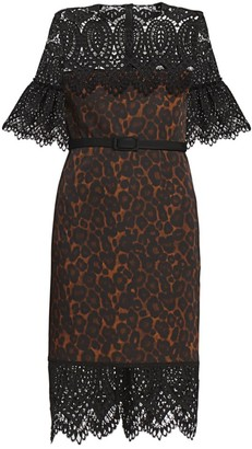 Erdem Kiya Lace Yoke Leopard-Print Sheath Dress