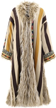Etro Embroidered Faux Fur Coat