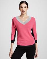 Magaschoni V-Neck Colorblock Sweater