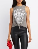 Charlotte Russe Rock & Roll Graphic Muscle Tee