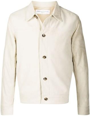 Officine Generale Leather Single Breasted Shirt Jacket