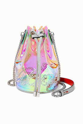 Christian Louboutin Marie Jane Spiked Iridescent Pvc And Glittered-leather Bucket Bag - Clear