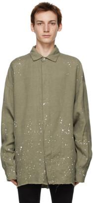 Palm Angels Khaki Paint Splatter Overshirt