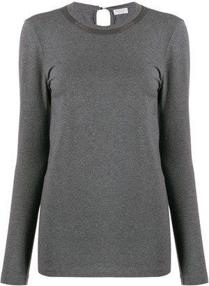 Brunello Cucinelli Embellished Neckline Top