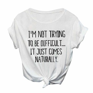 Auifor Women New Letter Printed Short Sleeve T-Shirt Blouse Casual Ladies Round Neck Daily Tops Shirt(P-White S)
