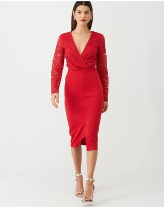 Very Tie Waist Lace Pencil Dress - Red