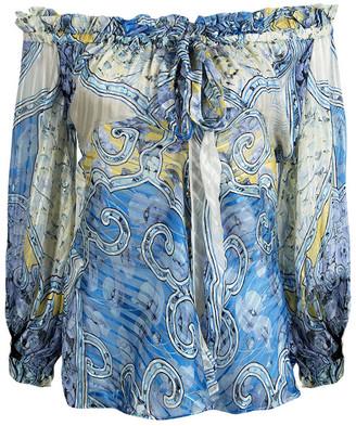 Roberto Cavalli Blue Printed Silk Ruffle Detail Off Shoulder Sheer Blouse S