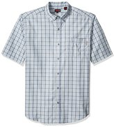 Wolverine Men's Big and Tall Mortar Plaid Poplin Blend Short Sleeve Shirt