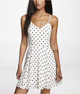 Express Polka Dot Fit And Flare Halter Dress