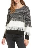 Moon River Women's Frayed Mix Knit Sweater