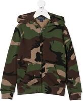 Camouflage-Print Zip-Up Hoodie