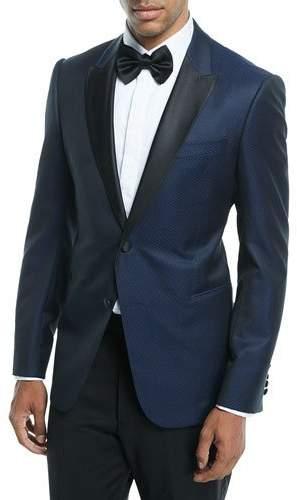 Emporio Armani Satin-Lapel Dot-Textured Dinner Jacket