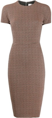 Victoria Beckham Houndstooth Fitted Midi Dress
