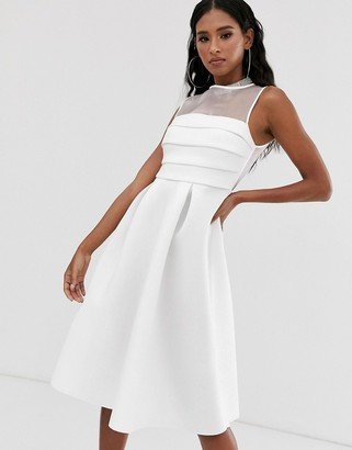 ASOS DESIGN organza panel prom midi dress