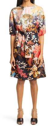 Etro Palmaria Floral Belted Silk Dress