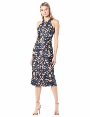 Dress the Population Women's Cassie Halter Neck Lace Dress Navy/Nude XS