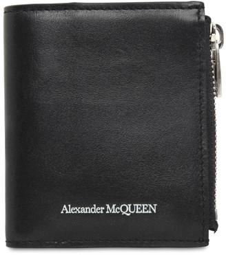 Alexander McQueen Logo Leather Wallet W/ Zip Pocket