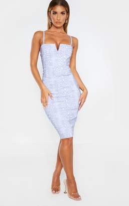 Ooh! La Oohla Grey Snake Print Woven V Detail Strappy Midi Dress