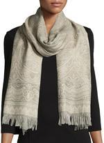 Sabira Chai Tonal Paisley Wool Stole, Sage