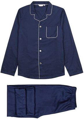 Derek Rose Lombard Navy Cotton-jacquard Pyjama Set