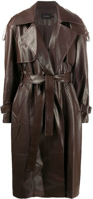 Low Classic Faux Leather Trench Coat