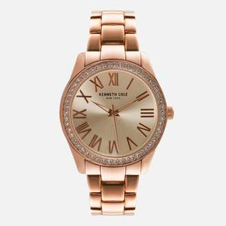 Kenneth Cole Rose Gold Link Watch with Crystal Bezel