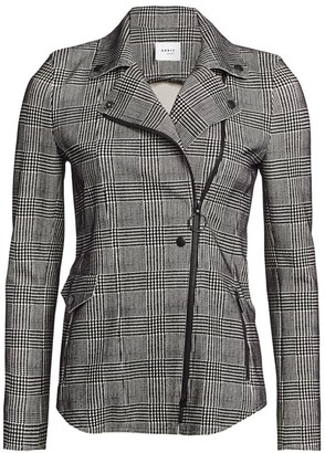 Akris Punto Flocked Glen Check Asymmetric Zip Jacket