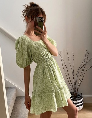 And other stories & ditsy floral print mini swing dress in green