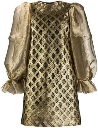 Dolce & Gabbana puffed sleeves metallic short dress