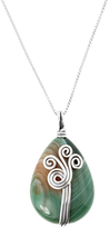 Agate & Sterling Silver Swirl Pendant Necklace