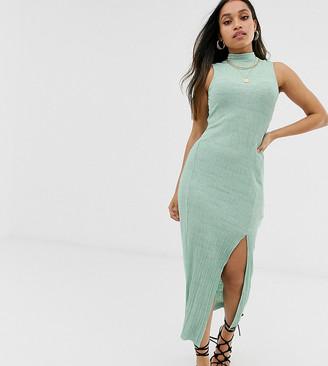 ASOS DESIGN Petite sleeveless high neck plisse maxi dress